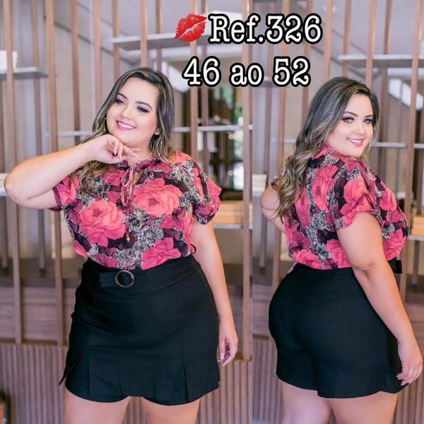 Blusa de estampa floral plus sizes