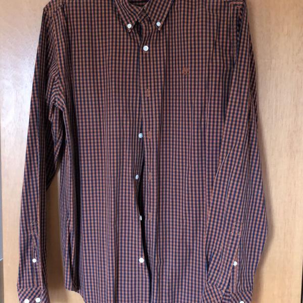Camisa de tecido xadrez manga comprida timberland
