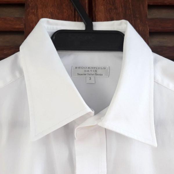 Camisa social branca satin brooksfield tam 3 (m)