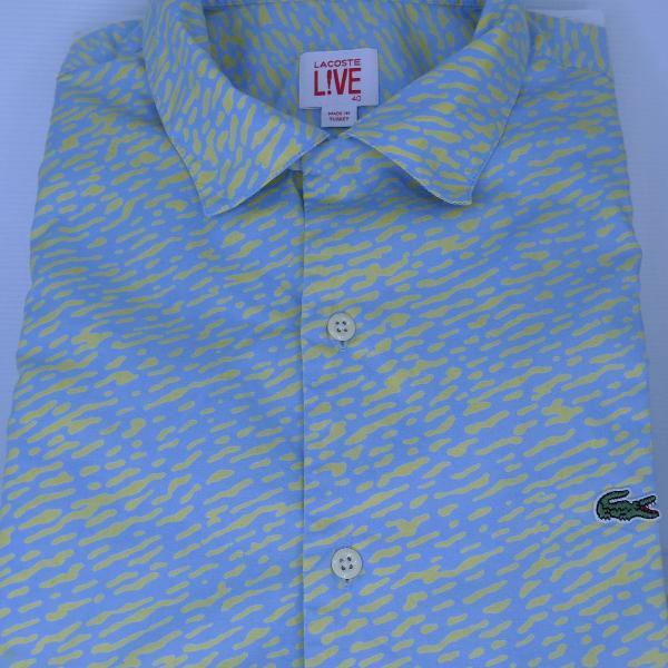 Camisa social masculina manga curta tam 40 (m) lacoste 50%