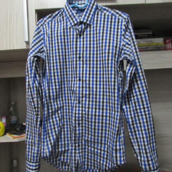 Camisa xadrez azul zara
