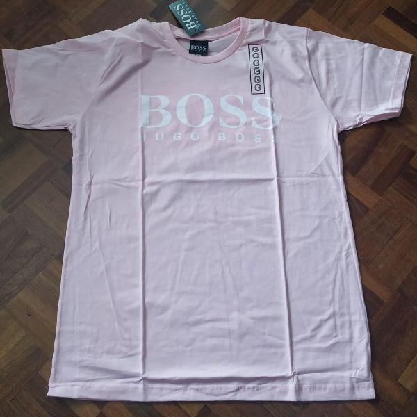 Camiseta hugo boss manga curta rosa
