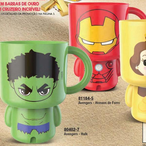 Canecas vingadores homem de ferro e hulk, princesas disney