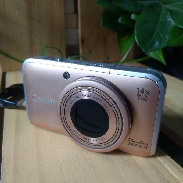Câmera canon powershot sx 210 is dourada