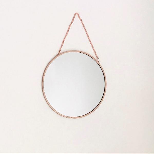 Espelho redondo rosé gold