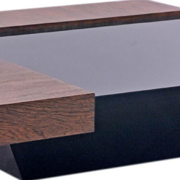 Mesa de centro quadrada carvalho e vidro laca preta