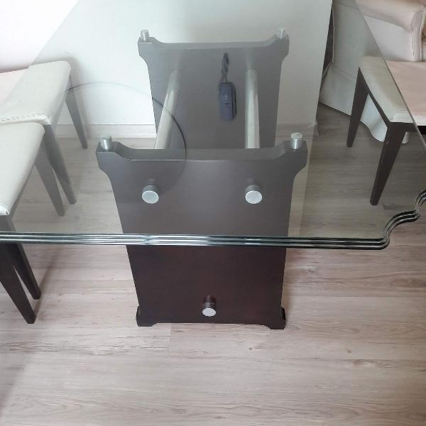Mesa de vidro - sala de jantar ou reuniões/trabalho