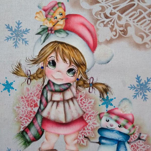 Pano de copa natalino menina feliz