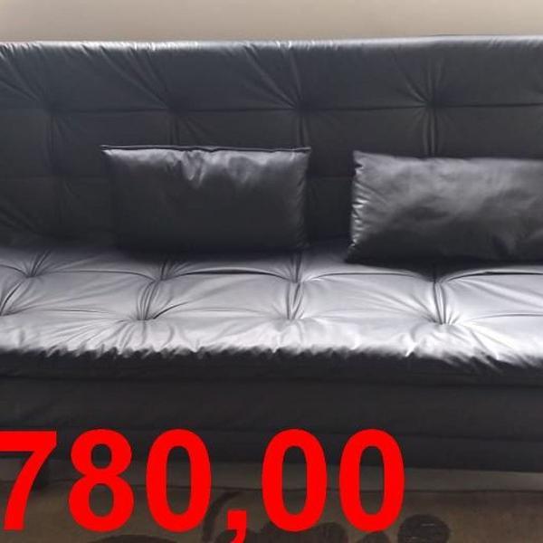 Sofa cama em couro sintetico
