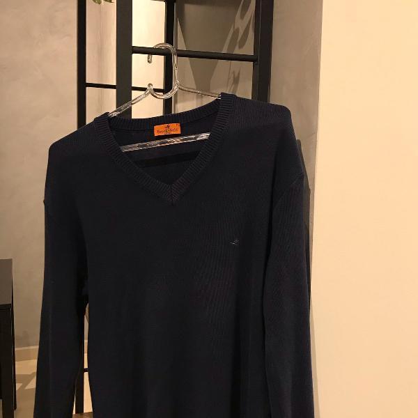 Suéter brooksfield tricot azul marinho