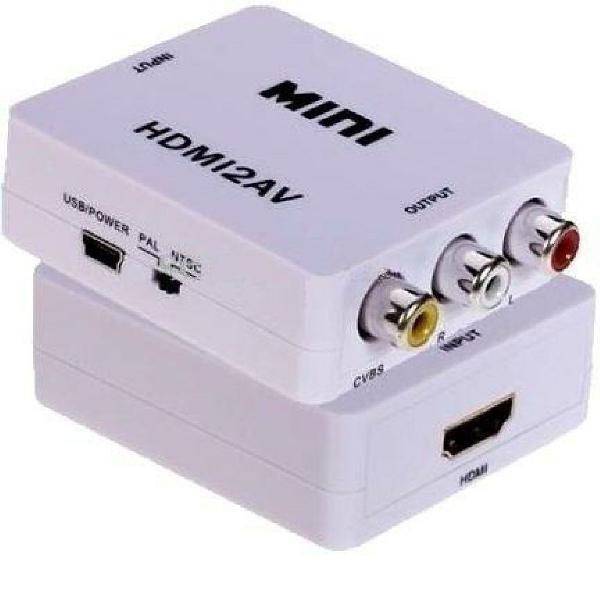 Mini adaptador conversor de hdmi para rca com cabo usb