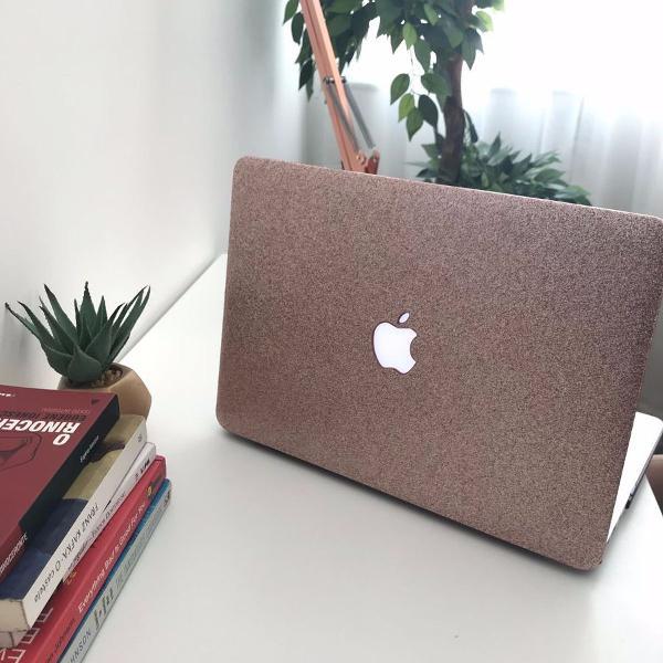 Case capa macbook air 13 2016/2017 rosa com glitter