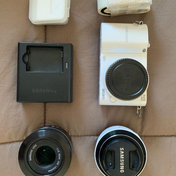 Câmera samsung nx1000 wifi + lente 45mm + brinde!!!