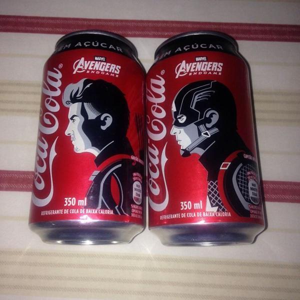 Coca cola 2 latas vingadores capitão e gavião vazias r$28