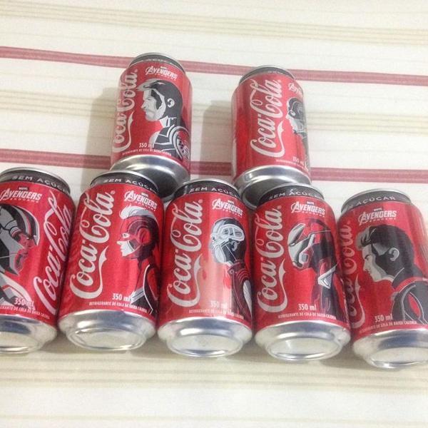 Coca cola 7 latas vingadores vazias c detalhes ler tudo r$58