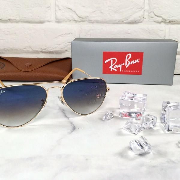 Culos de sol ray ban aviador rb3025 58mm azul degrade