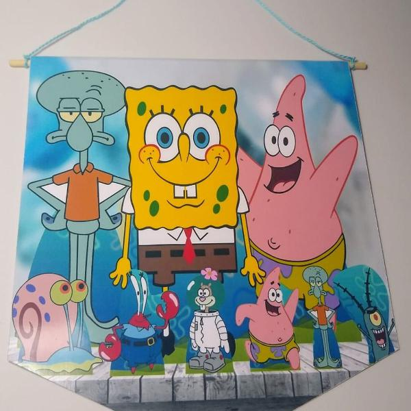 flâmula bob esponja - bandeira decorativa - kit com 3 un.