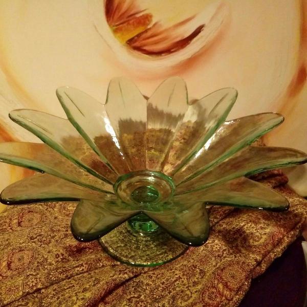 Fruteira em vidro, formato de flor / centro de mesa /