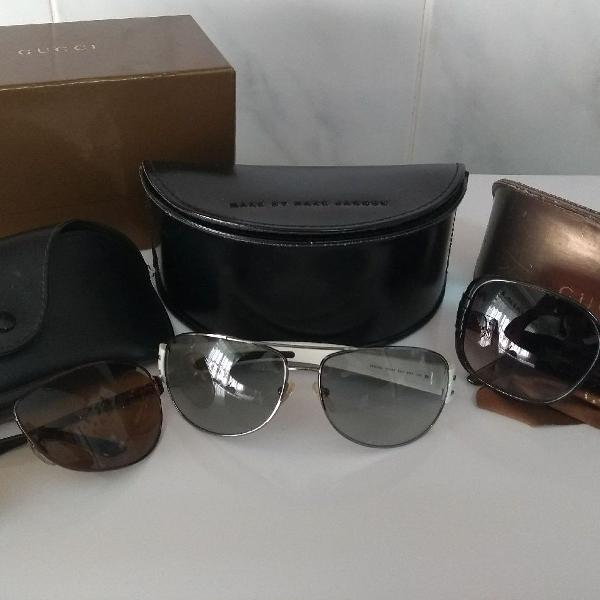Kit com 03 óculos marcas gucci, prada e ray ban