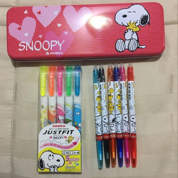 kit escolar do snoopy. canetas, marca-texto e estojo de