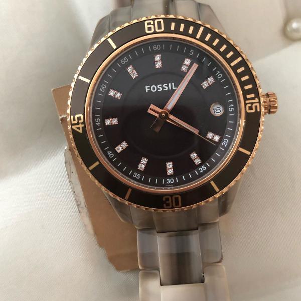 Lindo relógio fóssil novo importado pulseira de