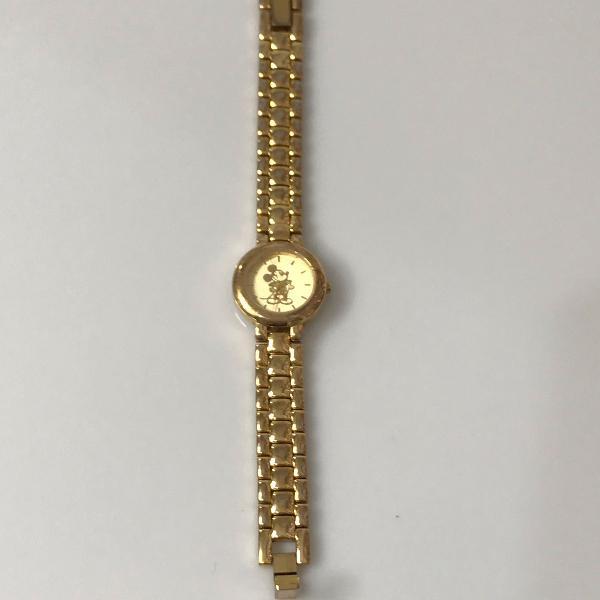 Relógio pulso dourado mickey disney colecionador
