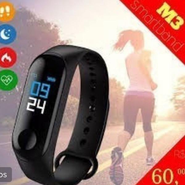 Relógio smart band m3 monitor cardíaco