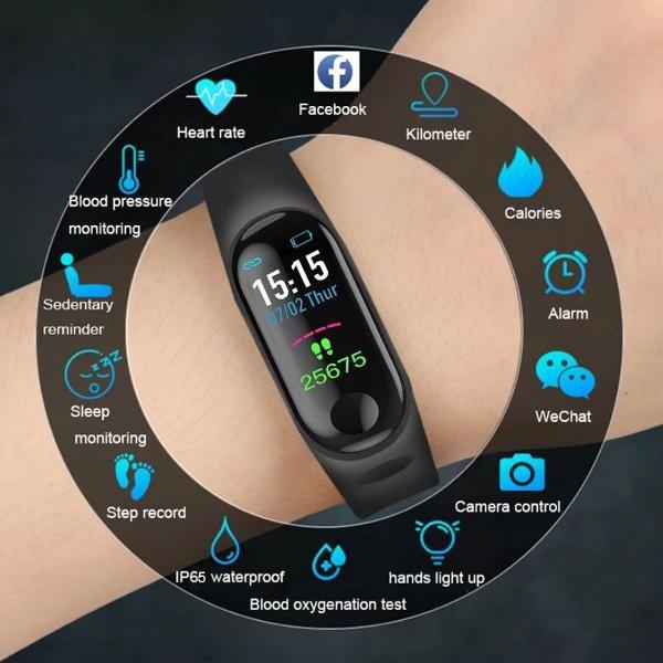Relógio smartwatch m3 inteligente health bracelet (pulseira