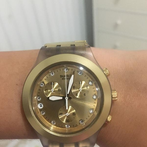 Relógio swatch dourado original comprado na alemanha,