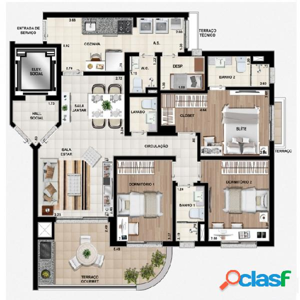 Apartamento NOVO de 90m² no Portal do Morumbi - Cód 97 1