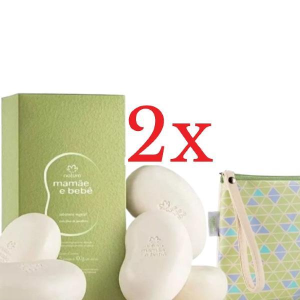Kit mamãe bebê 2 caixas e sabonete com 5 barras + clutch