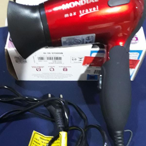 Secador de cabelo max travel 1200 w bivolt mondial portátil