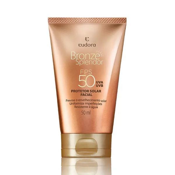 bronze splendor protetor solar facial com cor fps 50 eudora