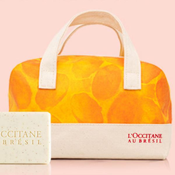 Kit bolsa amarela + sabonete loccitane au bresil