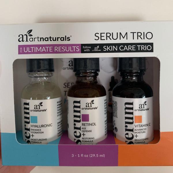 Kit serums. vitamina c + ácido hialurônico + retinol.