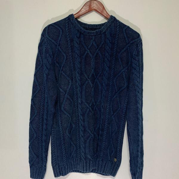 Sueter reserva tricot tranças azul marinho