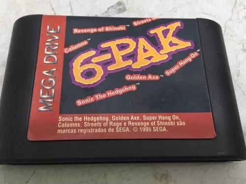 6-pak mega drive, cartucho original tec toy 6 jogos