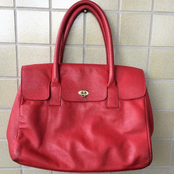 Bolsa couro vermelha