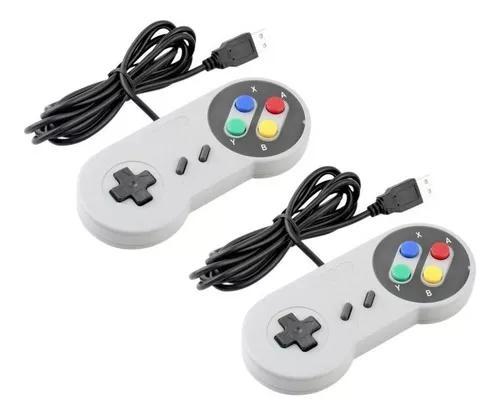 Controle nintendo usb joystick super snes jogos pc - kit 2un