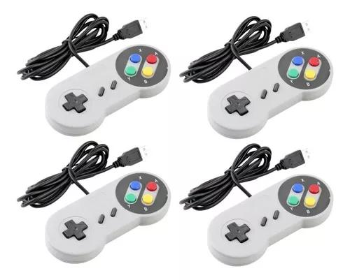 Controle nintendo usb joystick super snes jogos pc - kit 4un