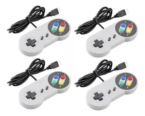 Controle nintendo usb joystick super snes jogos pc - kit 8un
