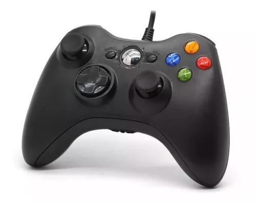 Controle xbox 360 com fio pc joystick jogos game novo