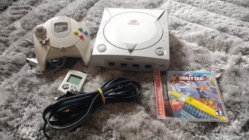 Dreamcast com controle vmu e jogo original crazy taxi