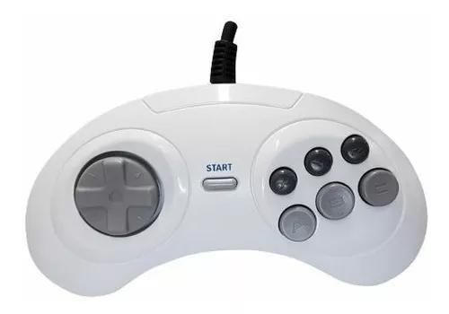 Joystick para mega drive tectoy 6 botões white version 1,8m
