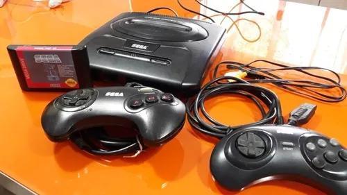 Mega drive 3 original completo c/ 2 controles + cartucho