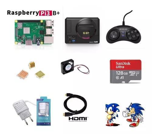 Mega drive mini retroflag 14000 jogos sd 128gb 1 controles