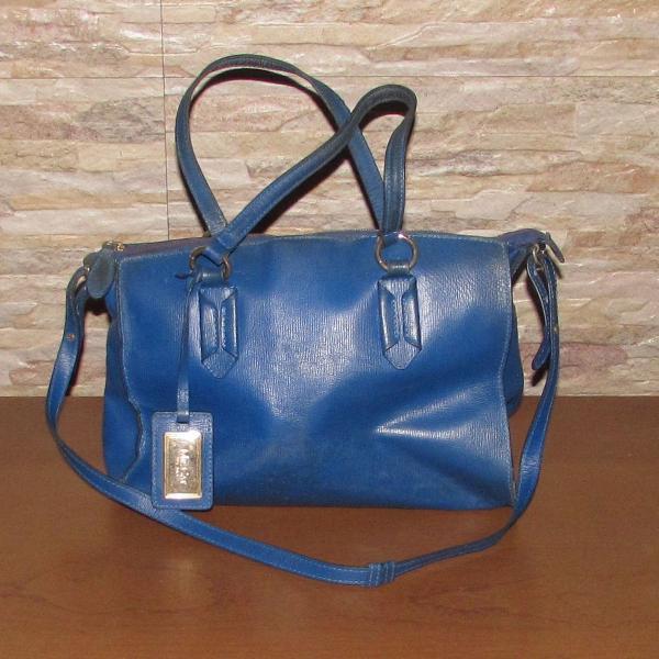Bolsa azul mr. cat em couro
