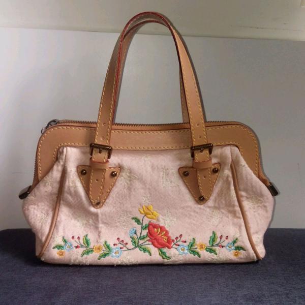 Bolsa florida couro e tecido