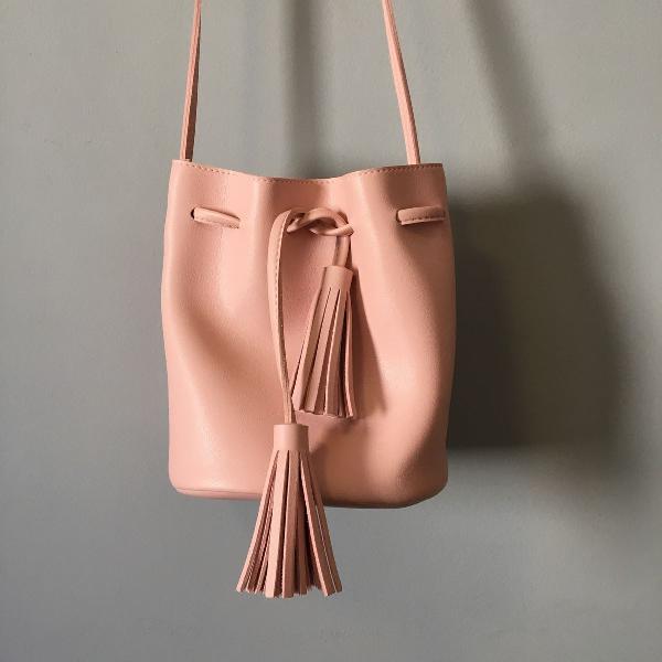 Bolsa saco rosa bebê lindíssima