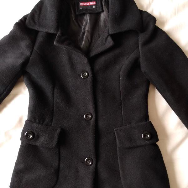 Casaco lã batida preto